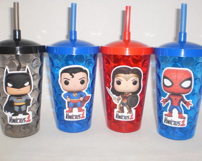 Copo Shake c/ Canudo 500ml Funko Pop Super Heroes