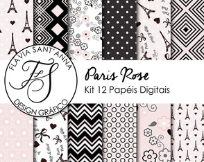 KIT PAPEL DIGITAL - PARIS ROSE