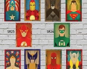 10 Placas Quadros Decorativos Super Heróis 01