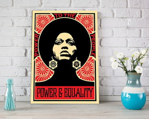 Placa decorativa - Angela Davis Power and Equality