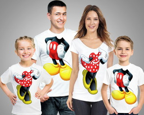 Kit 4 Camisetas corpo Mickey e Minnie para festa