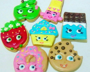 Shopkins biscoitos decorados