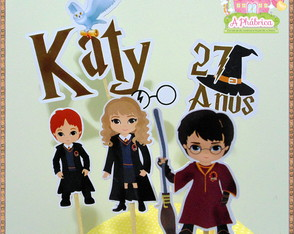 Topo de Bolo Scrap Harry Potter