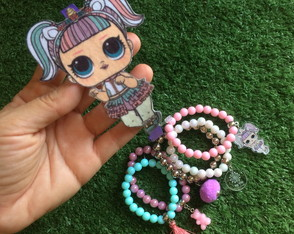 KIT LOL Unicorn - Mix Pulseiras + Tiara Feltro by Vic