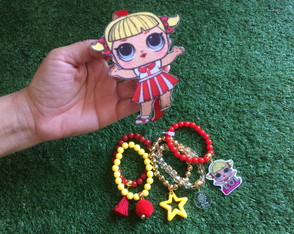 KIT LOL Cheer Captain - Mix Pulseiras + Tiara Feltro by Vic