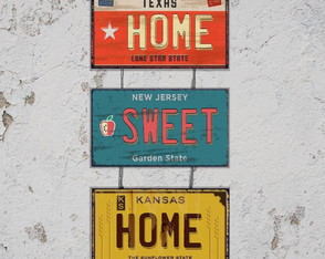 Conj. 3 Placas Decorativas Home Sweet Home