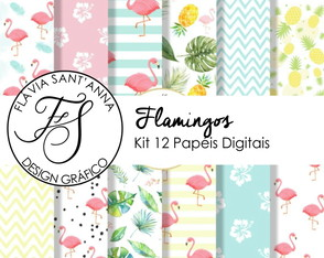 KIT PAPEL DIGITAL - FLAMINGOS