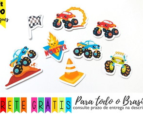 100 apliques 3cm monster trucks