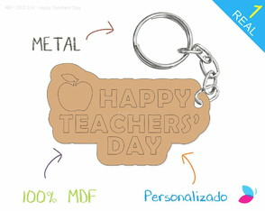 Chaveiro Personalizado MDF - Happy Teachers' Day