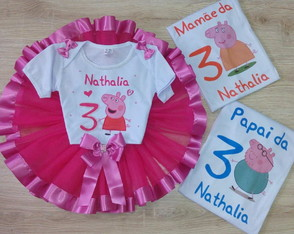Kit fantasia peppa pig + 2 camisetas