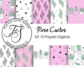 KIT PAPEL DIGITAL - ROSE CACTUS