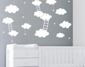 4104ea305 Adesivo De Parede Nuvens Escadinha Ceu Estrelas Quarto Bebe
