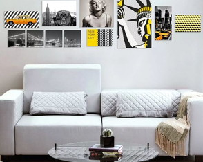 Kit 11 Placas Quadros Decorativos Preto Amarelo New York