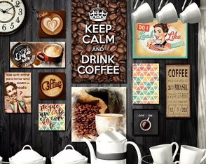 Kit 11 Placas Quadros Decorativos Cafeteria Café