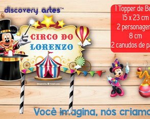 Topper de Bolo Circo do Mickey