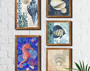 Kit 5 Quadros Decorativos Fundo do Mar