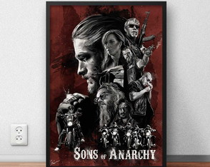 "Quadro Decorativo ""Sons of Anarch y"" com moldura e vidro"