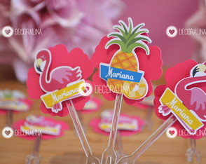Topper p/ Docinho Flamingo e Abacaxi Festa Tropical Flamingo