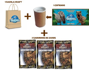 Kit Sacola, Cofrinho e Cards Jurassic World