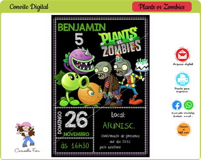 Convite Digital Plants vs Zombies
