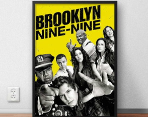 "Quadro Decorativo ""Brooklyn Nine-Nine"" com moldura e vidro"