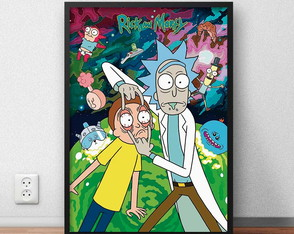 "Quadro Decorativo ""Rick and Morty"" com moldura e vidro"