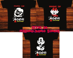 kit 3 camisetas disney