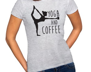 Camiseta Feminina Baby Look Yoga And Coffee