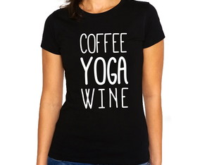Camiseta Feminina Baby Look Coffe Yoga Wine