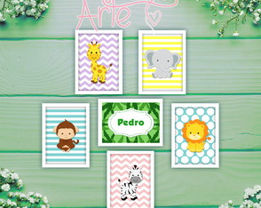 Kit 6 quadros personalizados - Safari Baby (ARTE DIGITAL)