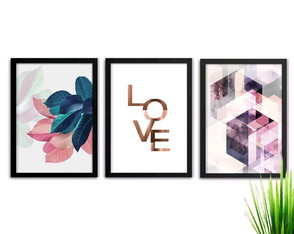 Kit de quadros Love color 30x40cm