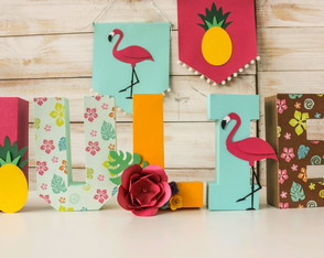 Letras 3D- Flamingo Tropical