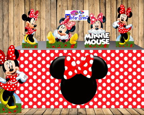 DISPLAY MINNIE VERMELHA COM SAIA DE MESA