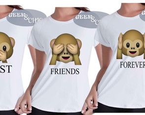 "Kit 3 Camisetas Baby Looks ""BFF"""
