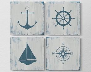 4 Quadros Decorativos Praia Retrô