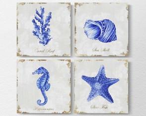 4 Quadros Decorativos Praia Blue