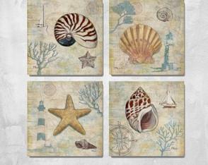 4 Quadros Decorativos Praia Conchas
