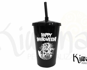 COPO TWISTER PRETO PERSONALIZADO HAPPY HALLOWEEN