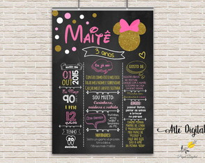 Chalkboard Minnie Rosa 4 Arte Digital