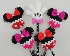 Kit com 5 ponteiras minnie