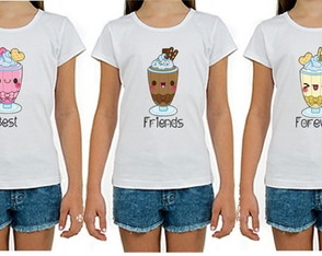 Kit 3 Camisetas Amigas Best Friends Forever BFF
