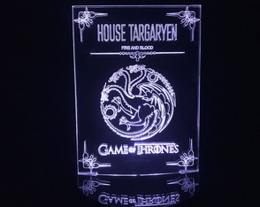 Luminária Led 3d House Targaryen Game Of Thrones Acrílico