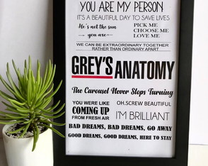 QUADRINHO DECORATIVO GREYS ANATOMY