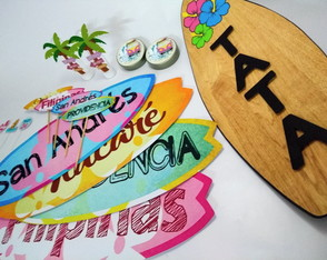 Kit festa Surf - placa rotulos tags toppers