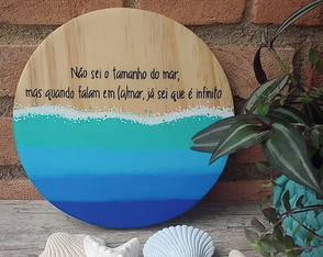"Placa decorativa de madeira - ""(a)mar infinito"""
