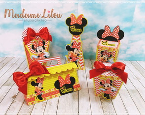 Kit Scrap Festa Minnie Vermelha c/ 50 unidades