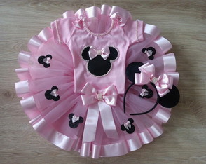 Fantasia minnie rosa com collant 1 a 6 anos