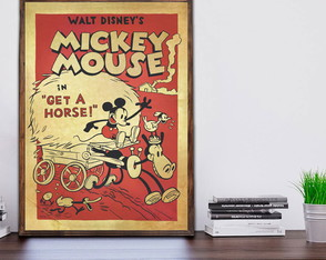 Quadro Decorativo Mickey Mouse Vintage Retrô Moldura A3