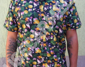 CAMISA CASUAL MASCULINA - FLAMINGO TROPICAL