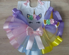 kit saia tutu unicórnio + collant e tiara